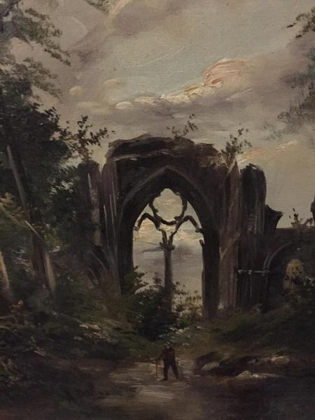 Man walking at the ruins