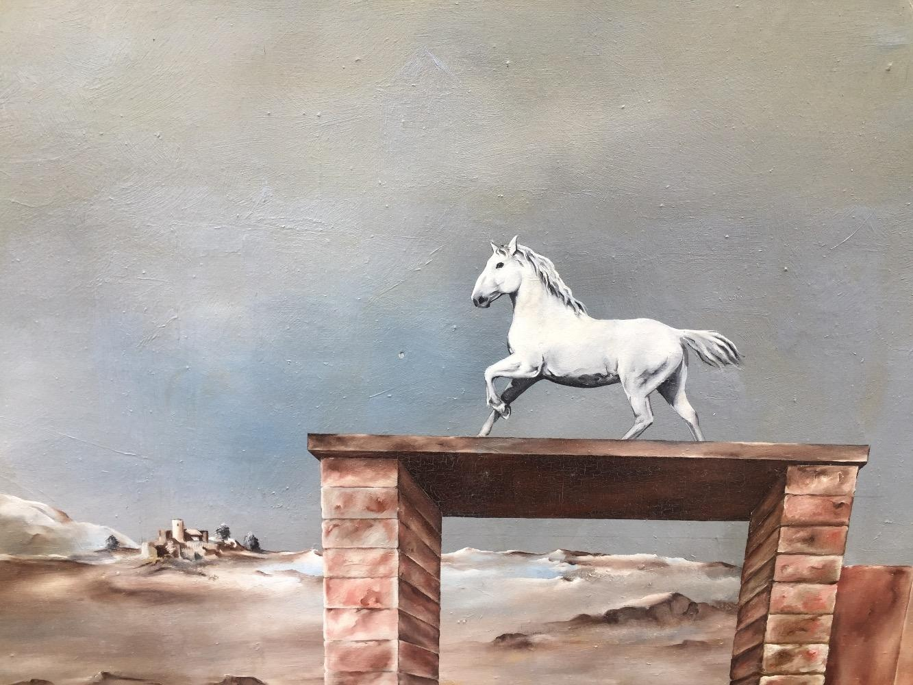 Surreel landscape with a white horse