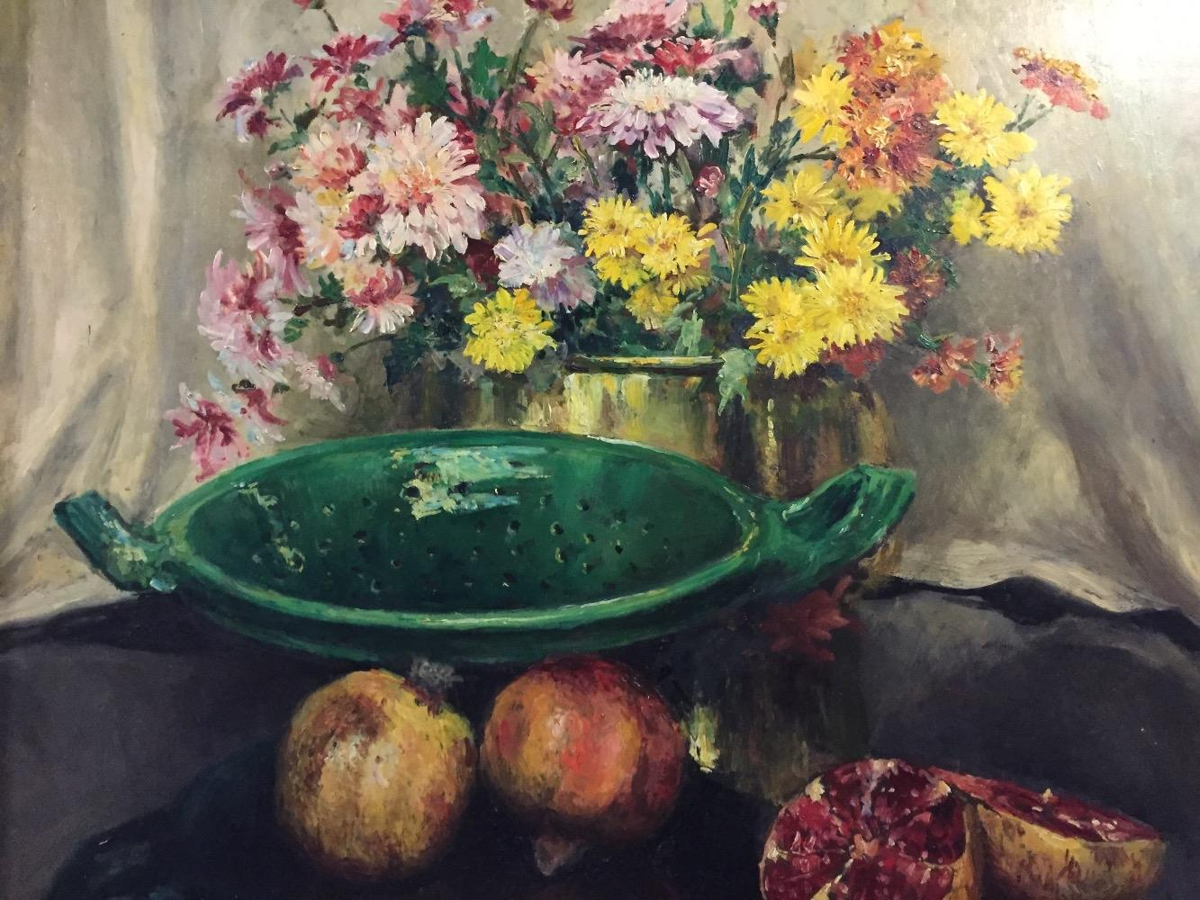 Stillife with flowers and fruit