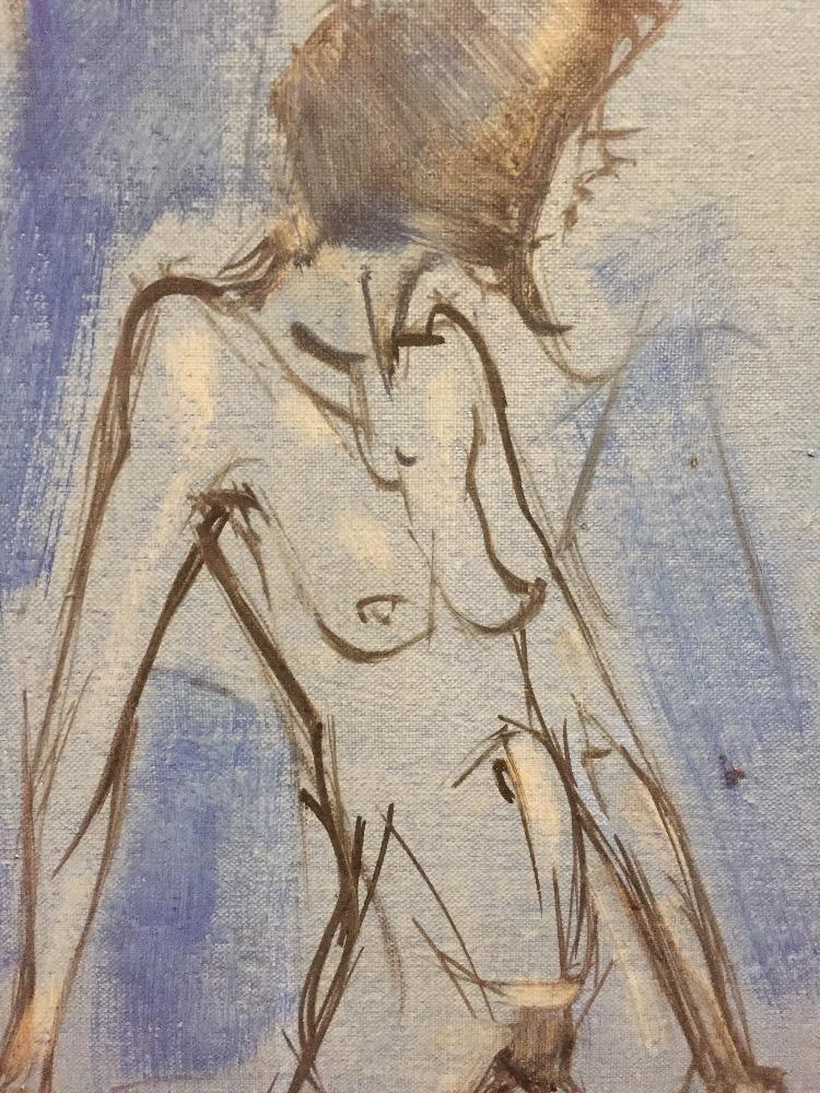 Nude in a blue interior