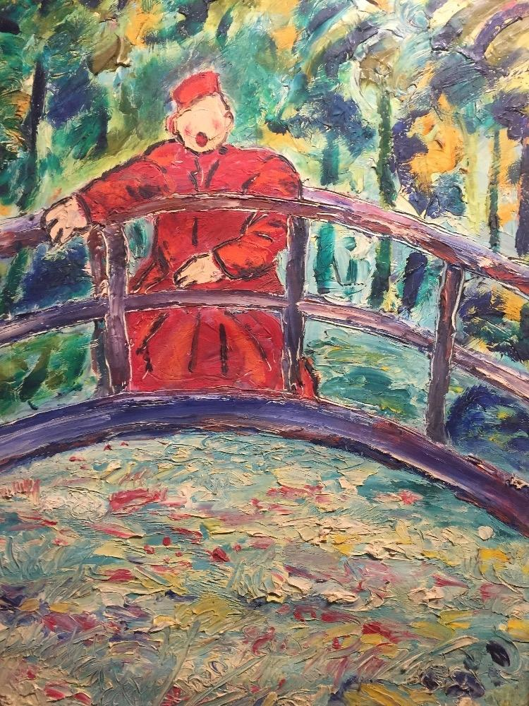 Man in red in Giverny
