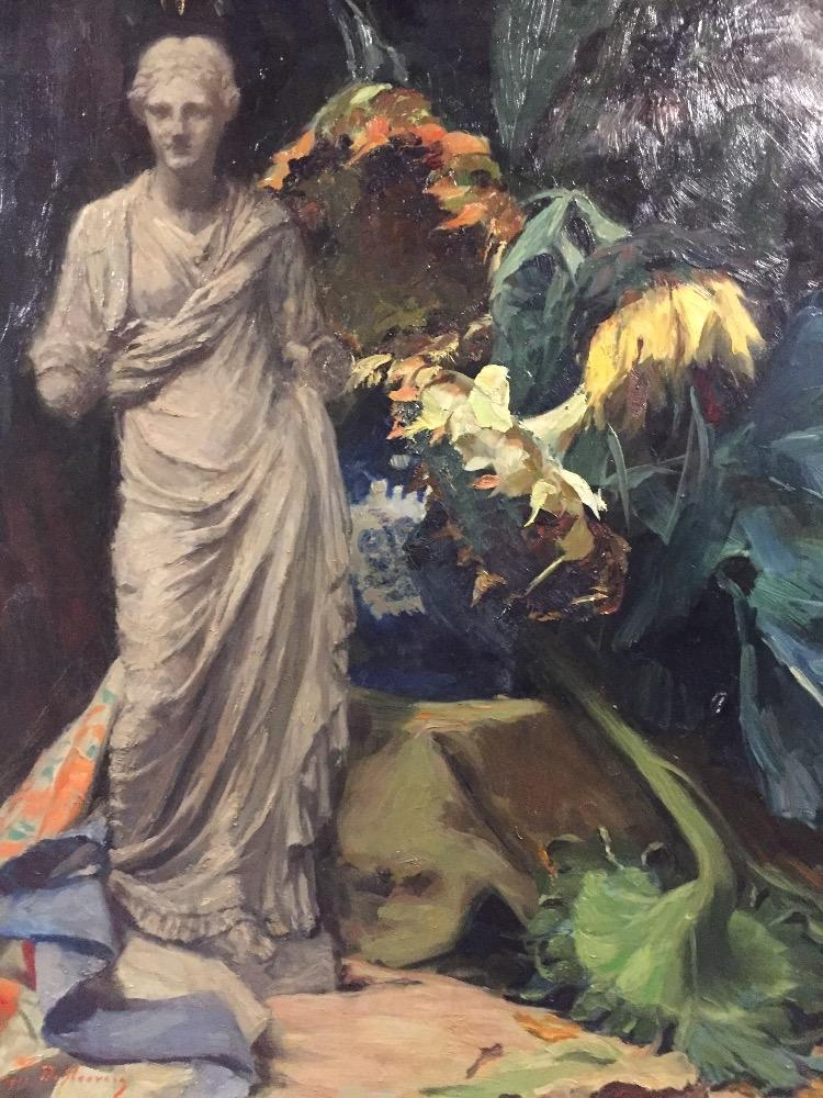 Stillife with sunflowers and a Greek statue