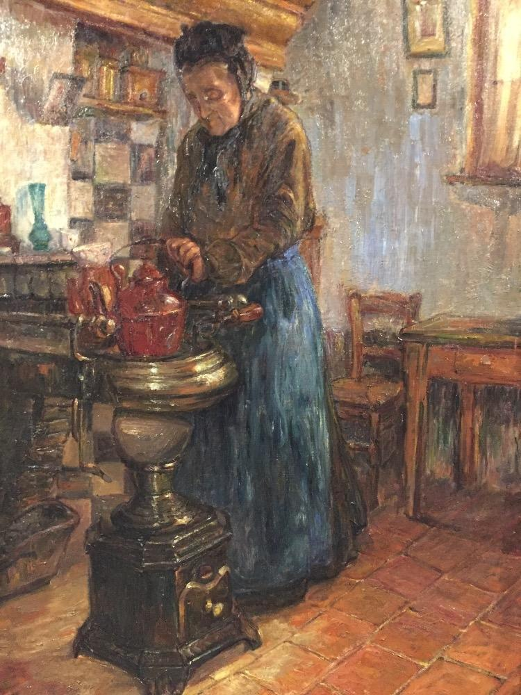 Granny is making coffee
