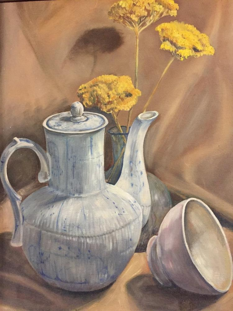 Coffeepot and flowers