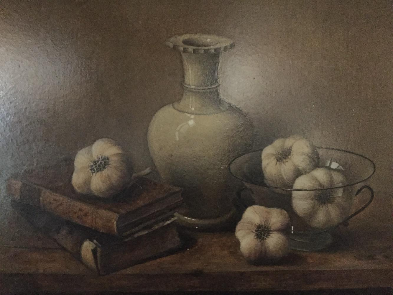 Stillife with books ,vase and garlic