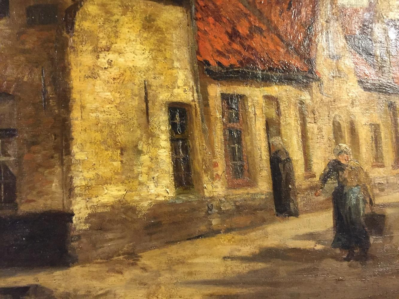 The milkmaid in the streets of Bruges